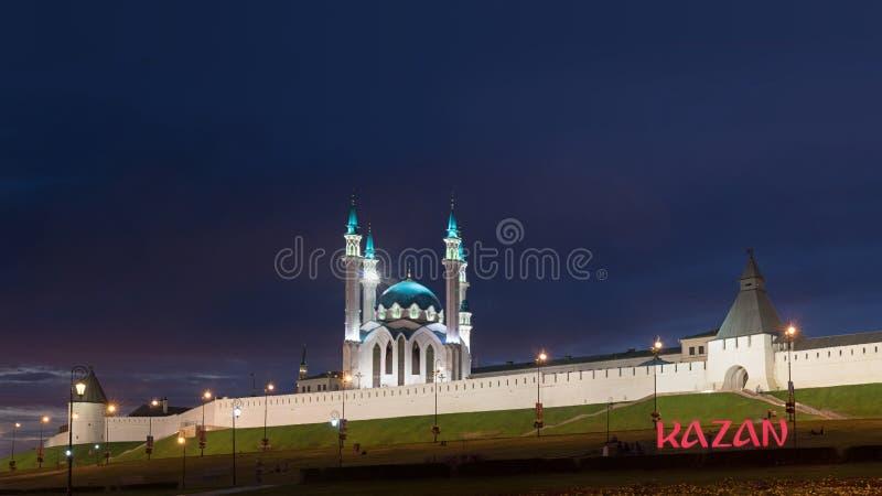 喀山克里姆林宫在晚上 免版税库存照片