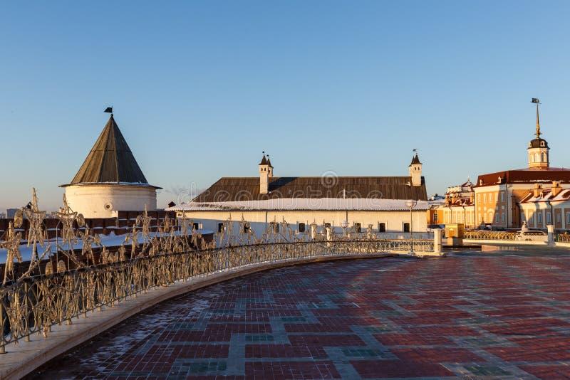 喀山克里姆林宫的墙壁 免版税库存图片
