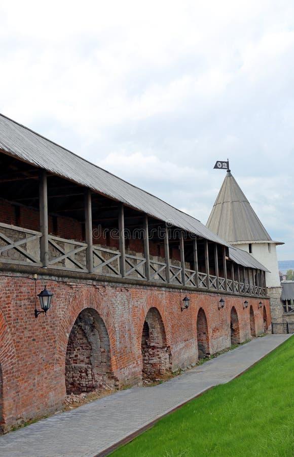 喀山克里姆林宫的墙壁 库存照片