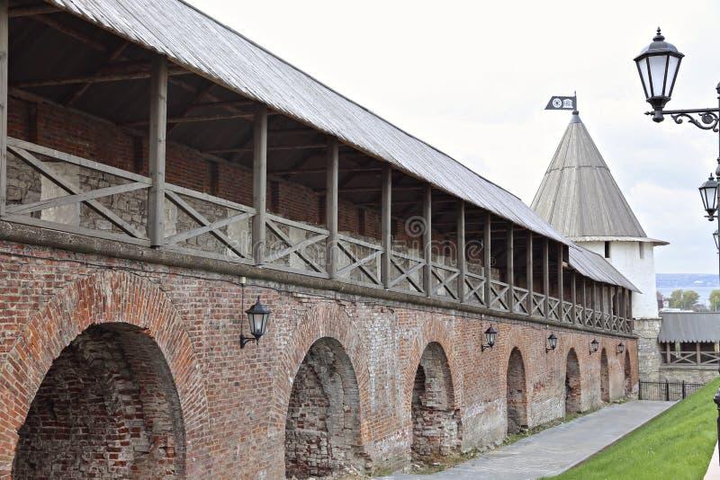 喀山克里姆林宫的墙壁 免版税库存照片