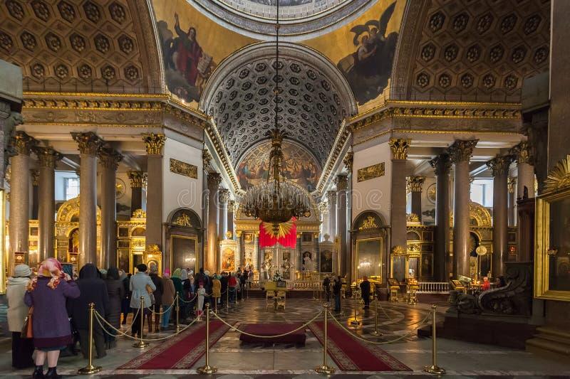 喀山大教堂内部在圣彼得堡,俄罗斯 免版税图库摄影