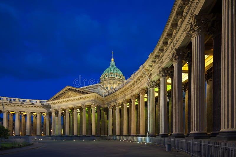 喀山大教堂在圣彼德堡的不眠夜 库存图片
