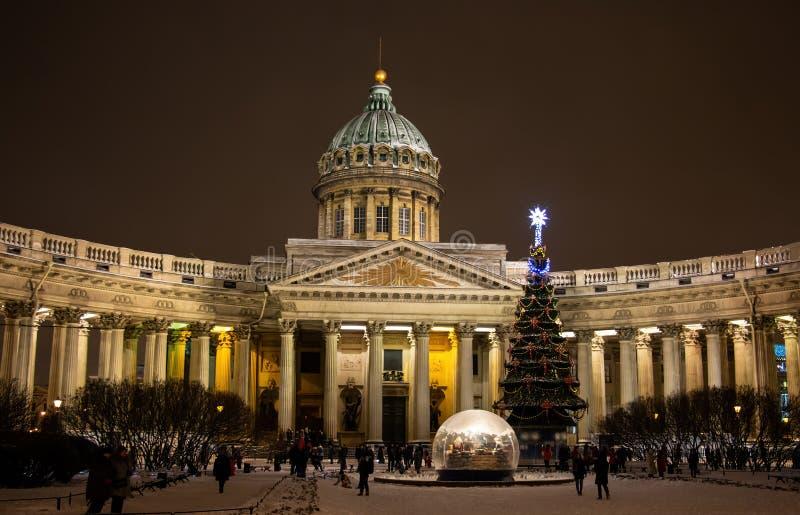 喀山大教堂在圣彼德堡,俄罗斯 库存图片