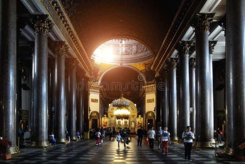 喀山大教堂的内部在圣彼德堡,俄罗斯 库存图片