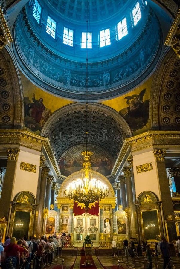 喀山大教堂的内部,圣彼德堡,俄罗斯 免版税库存照片