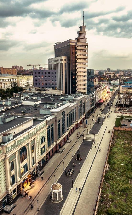 喀山的中心的顶视图 旅馆喀山,鞑靼斯坦共和国 免版税库存图片