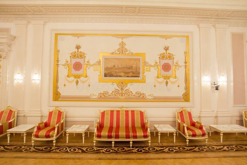 喀山,俄罗斯- 2017年1月16日,香港大会堂-豪华和美好的旅游地方-古色古香的内部 免版税库存图片