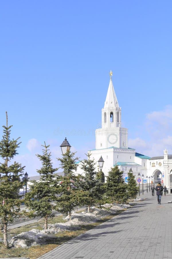 喀山 克里姆林宫 克里姆林宫莫斯科晚上红色spasskaya正方形塔 免版税库存图片