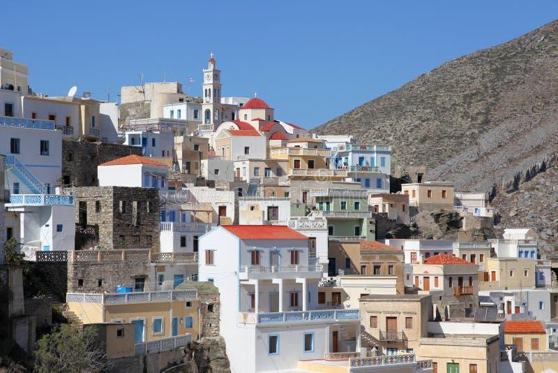 喀帕苏斯岛的山村Olympos 免版税图库摄影