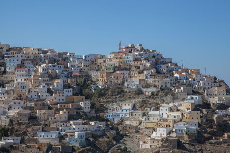 喀帕苏斯岛的美丽如画的村庄Olympos 库存照片