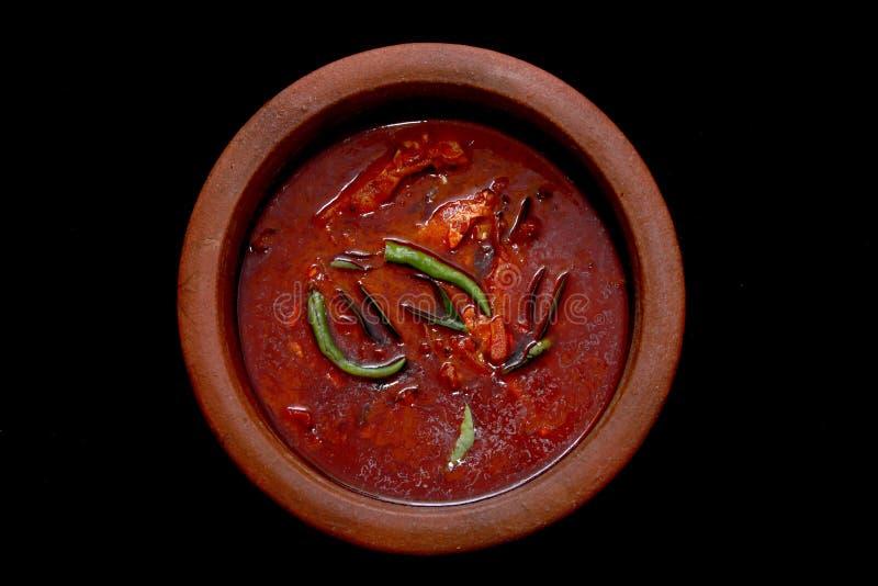 喀拉拉鱼咖喱在有红色冷颤的粉末的Earthernware准备了 免版税库存图片