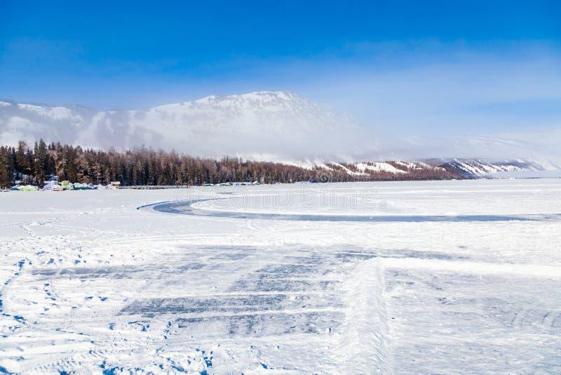 喀纳斯湖森林在冬天,新疆,瓷看法  库存图片
