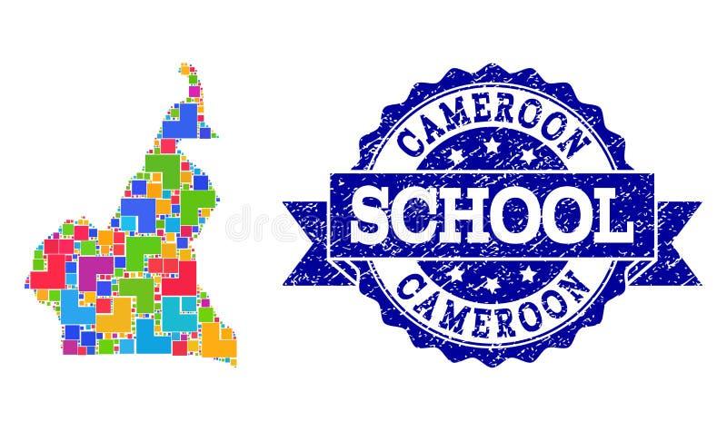 喀麦隆和织地不很细学校封印拼贴画军用镶嵌地图  库存例证