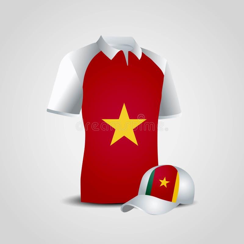 喀麦隆旗子衬衣设计传染媒介 库存例证