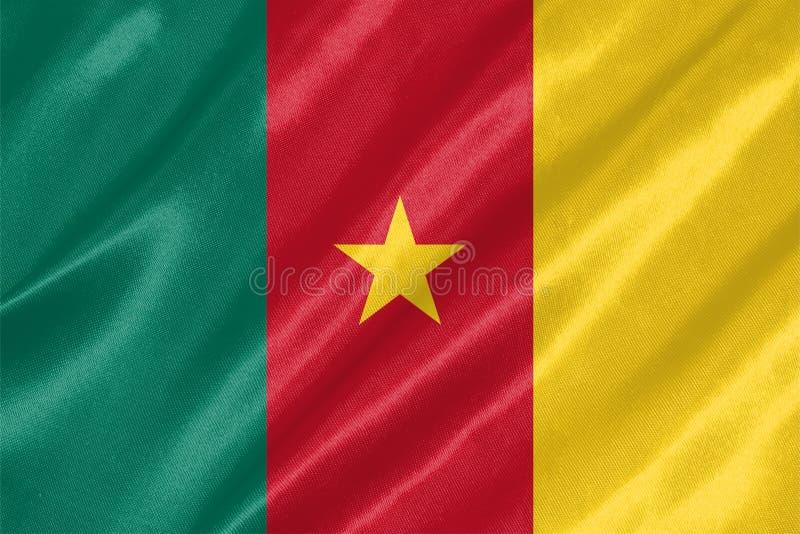 喀麦隆旗子 免版税库存照片