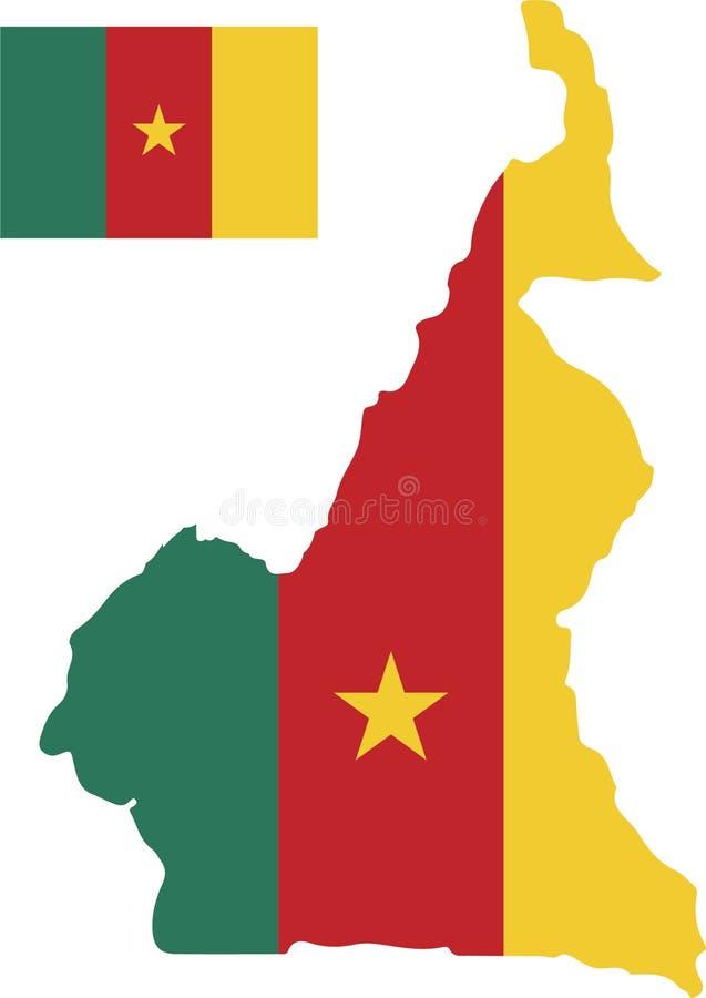 喀麦隆的传染媒介地图有旗子的 被隔绝的,白色背景 向量例证