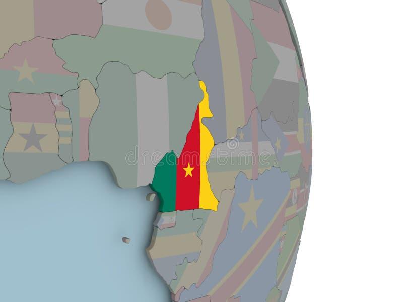喀麦隆的地图政治地球的与旗子 库存例证