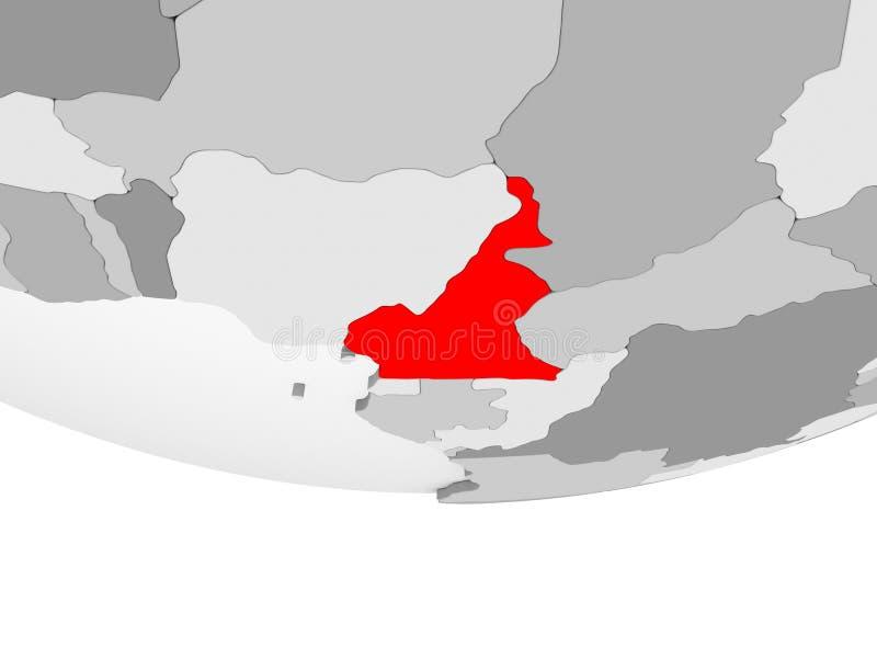 喀麦隆的地图灰色政治地球的 向量例证