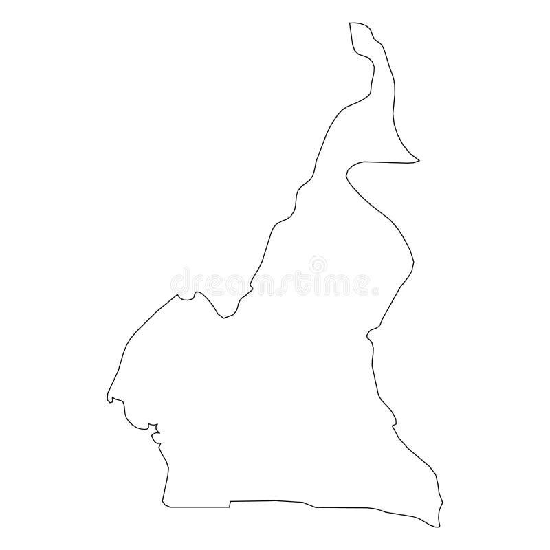 喀麦隆-国家区域坚实黑概述边界地图  简单的平的传染媒介例证 皇族释放例证