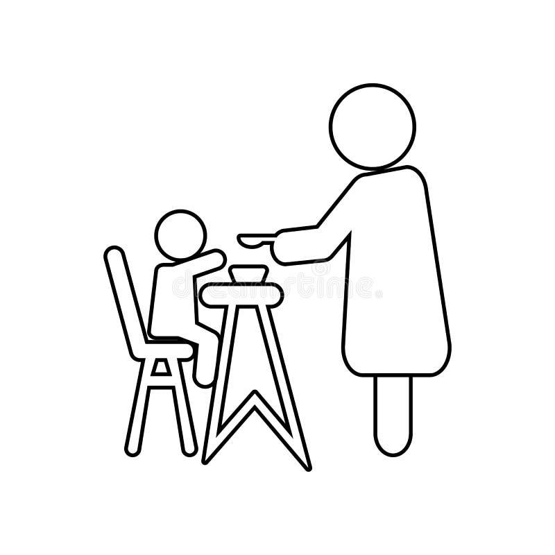 喂养她的小孩子的母亲坐吃椅子象的孩子 家庭的元素流动概念和网应用程序象的 概述, 库存例证