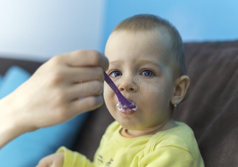 喂养她的有匙子的女婴 库存照片