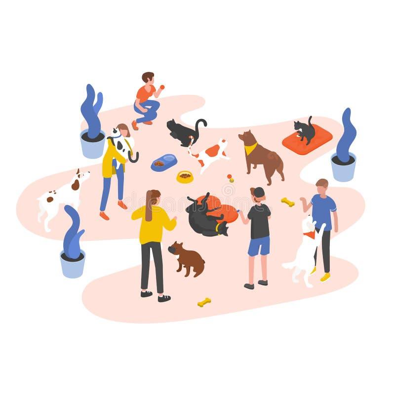 喂养宠物和使用与他们的人或志愿者在动物庇护所、磅、修复或者收养中 向量例证