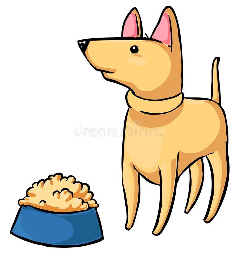 喂养宠物-尾随和一碗食物 库存例证