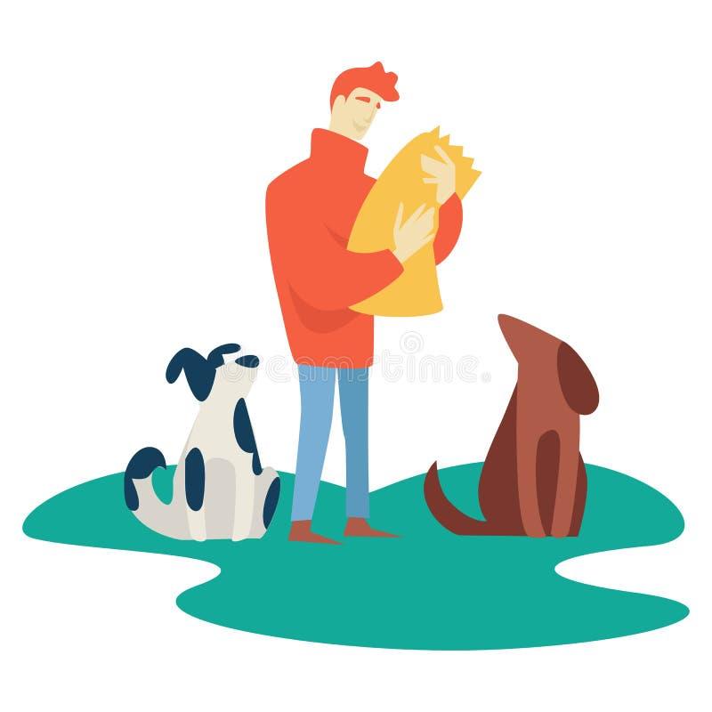 喂养无家可归的宠物的人志愿慈善和帮助 向量例证