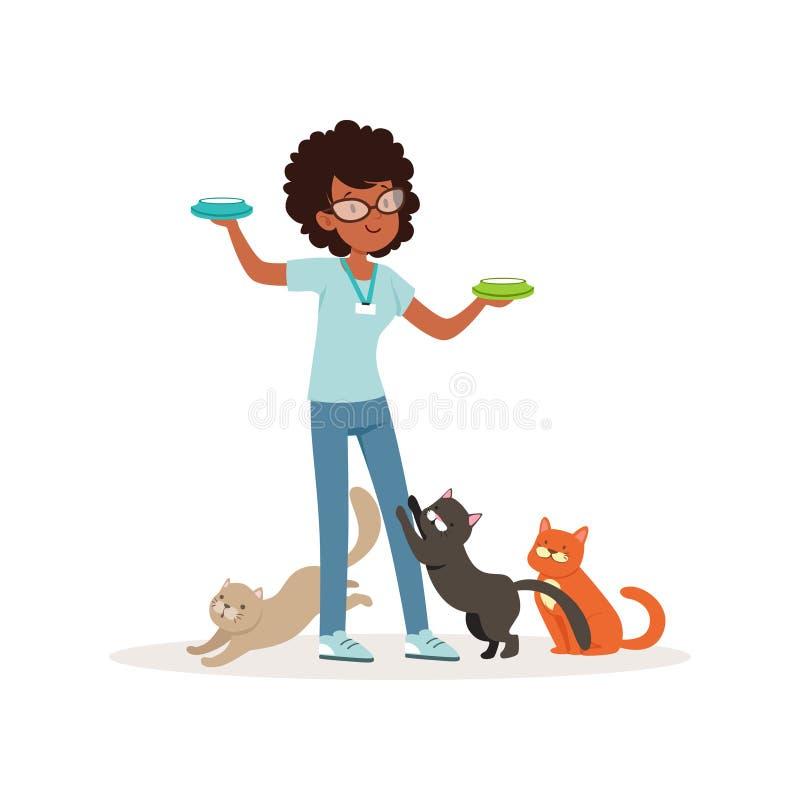 喂养无家可归的猫的逗人喜爱的卷发的女孩 志愿举行的碗用牛奶 社会帮助 青少年在玻璃,蓝色t 库存例证