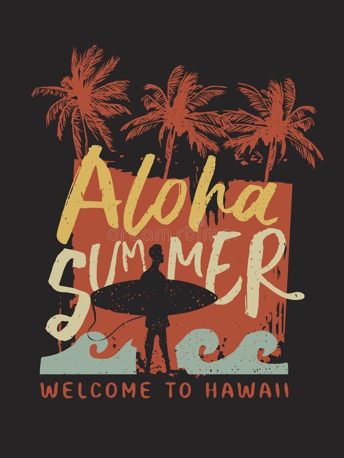 喂夏天冲浪者从夏威夷的印刷术海报 皇族释放例证