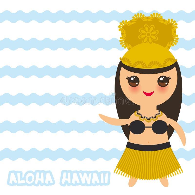 喂夏威夷卡片设计夏威夷Hula舞蹈家Kawaii女孩 蓝色挥动海海洋背景 横幅模板,卡片设计 向量 库存例证