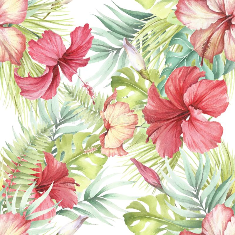 喂无缝夏威夷的模式 棕榈叶和木槿 手凹道水彩例证 库存例证