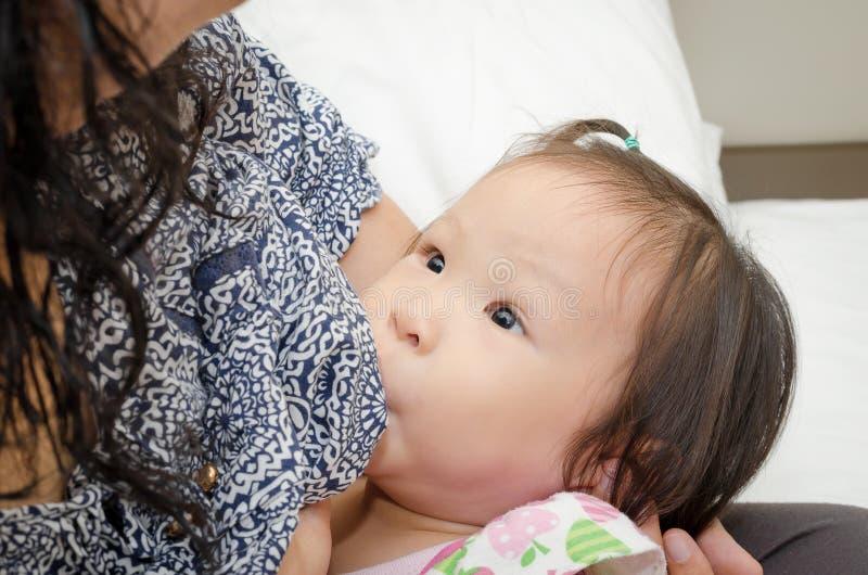 喂养她的母亲的乳房女儿 库存照片