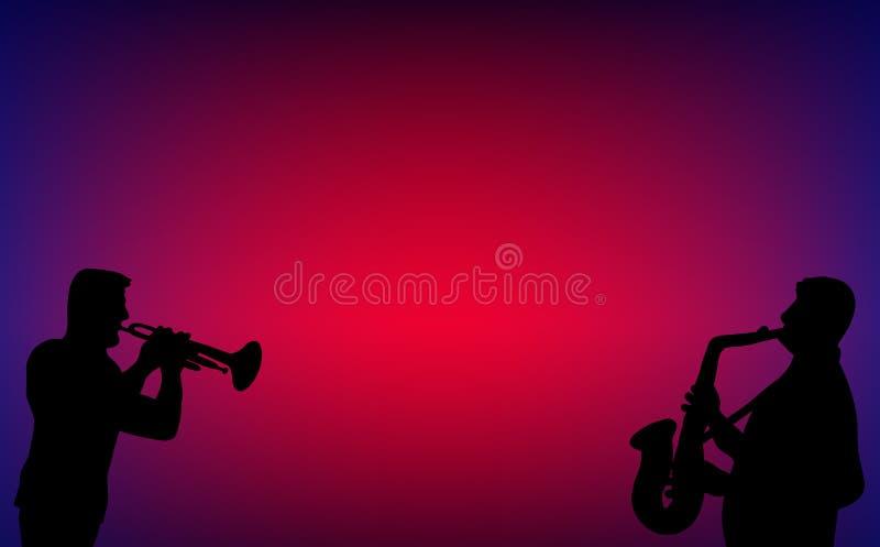 喇叭萨克管演奏员蓝色爵士乐二重奏夜总会 皇族释放例证