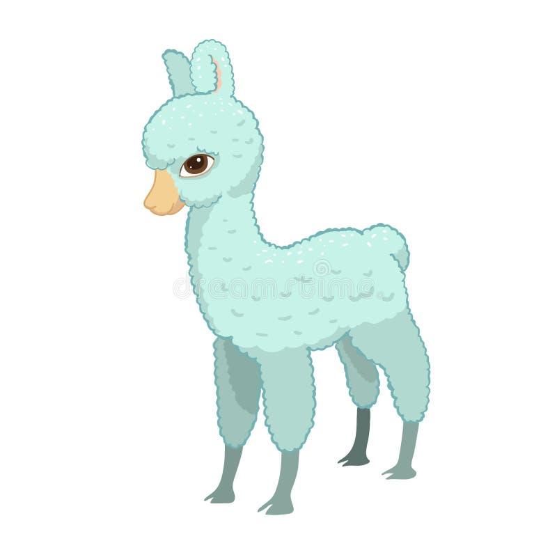骆马动画片羊魄 喇嘛动物传染媒介被隔绝的例证 逗人喜爱的滑稽的手拉的艺术 卡片的,贴纸设计 向量例证