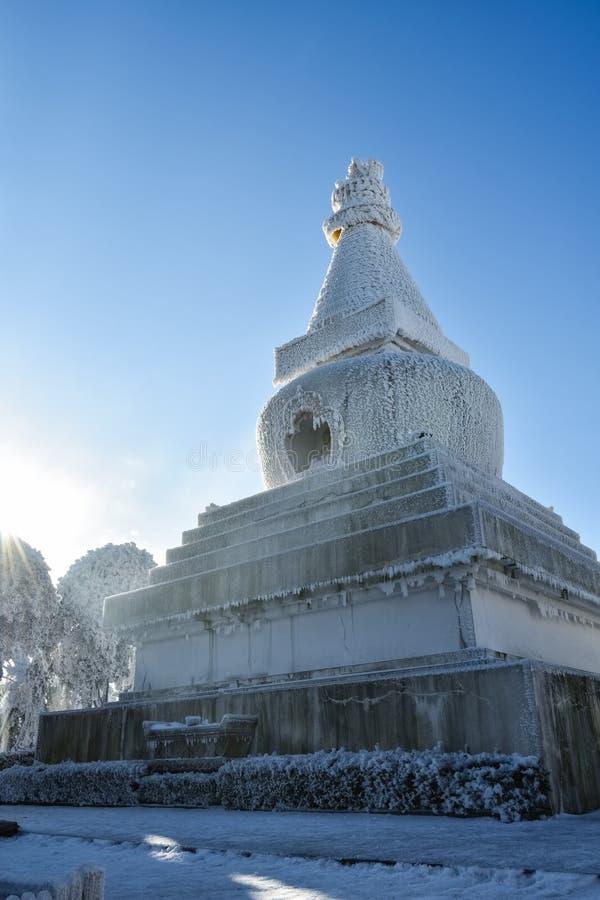 喇嘛教徒塔特写镜头在冬天 库存图片