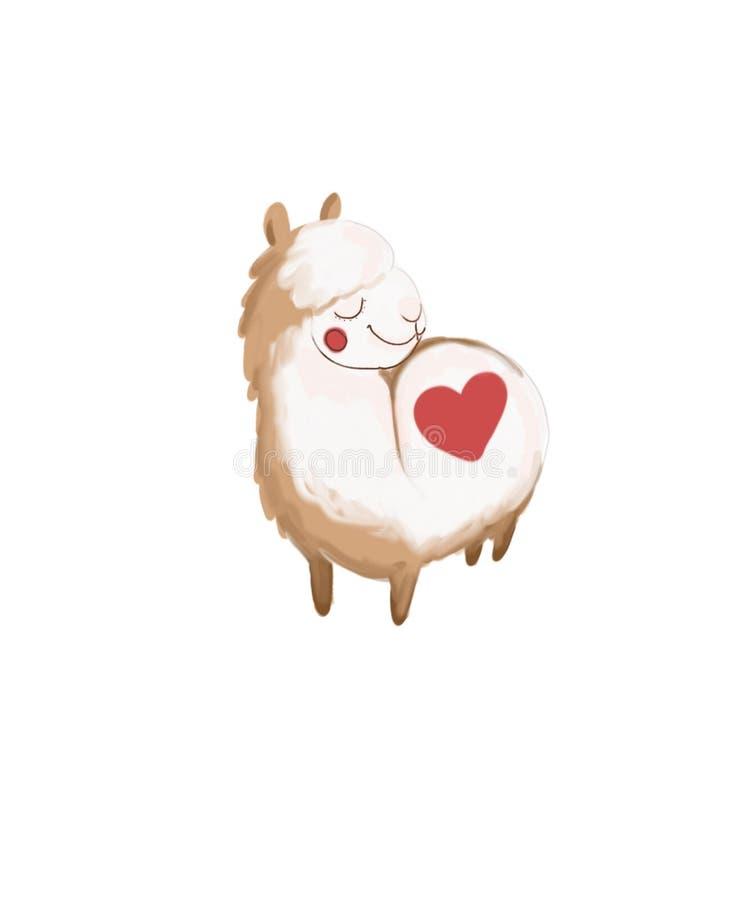 喇嘛逗人喜爱的动物心脏美丽滑稽 向量例证