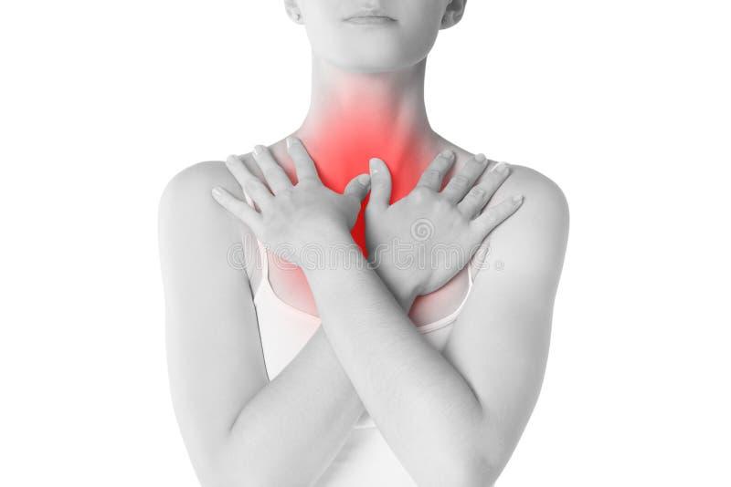 喉咙痛,充满痛苦的妇女在脖子,隔绝在白色背景 库存照片