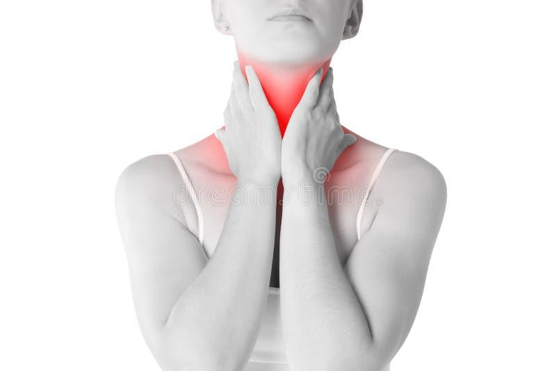 喉咙痛,充满痛苦的妇女在脖子,隔绝在白色背景 库存图片