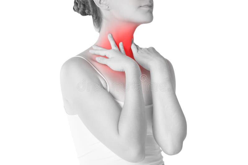 喉咙痛,充满痛苦的妇女在脖子,隔绝在白色背景 免版税库存照片