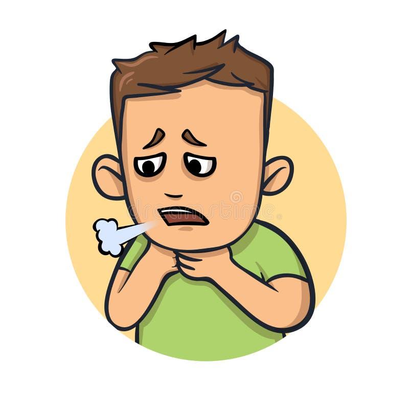 喘息,咳嗽男孩 憔悴的标志 平的传染媒介例证 背景查出的白色 向量例证