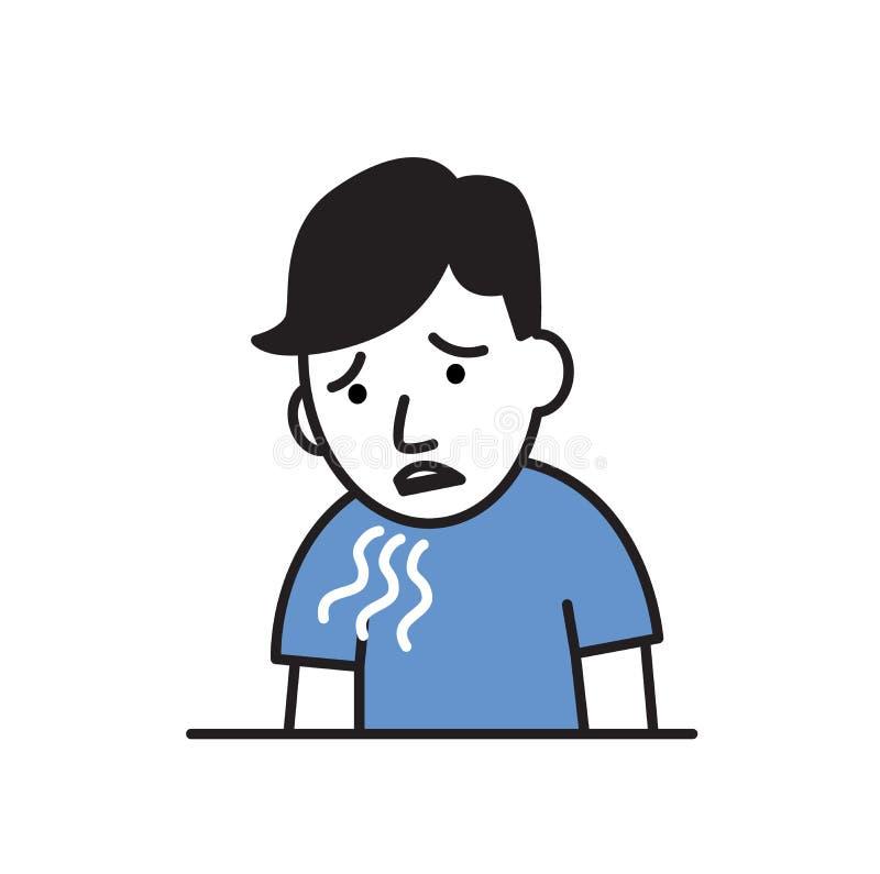 喘息,咳嗽男孩 憔悴的标志 平的传染媒介例证 背景查出的白色 皇族释放例证