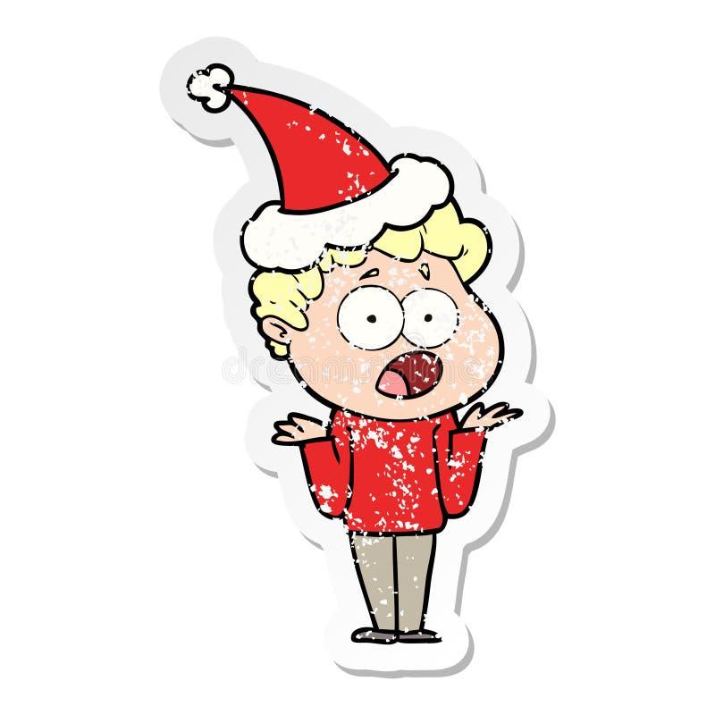 喘气在惊奇的一个人的困厄的贴纸动画片戴圣诞老人帽子 向量例证