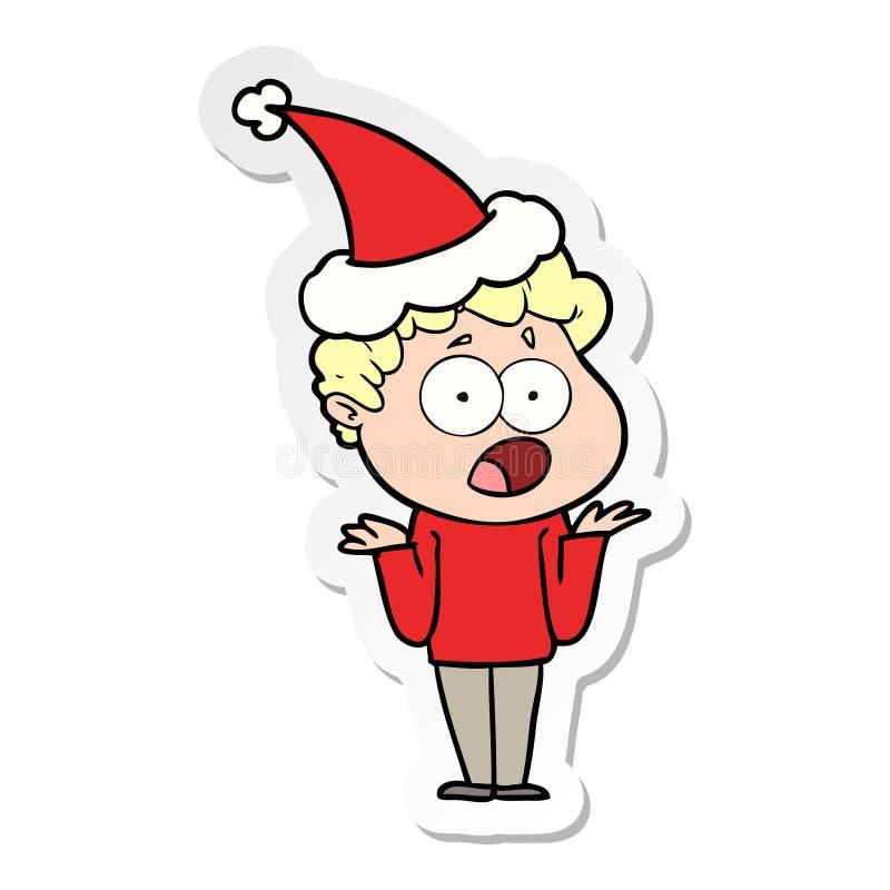 喘气在惊奇的一个人的贴纸动画片戴圣诞老人帽子 皇族释放例证