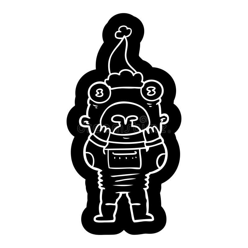 喘气在惊奇的外籍人的动画片象戴圣诞老人帽子 皇族释放例证