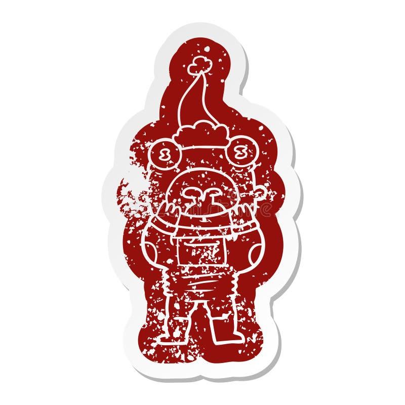 喘气在惊奇的外籍人的动画片象戴圣诞老人帽子 向量例证