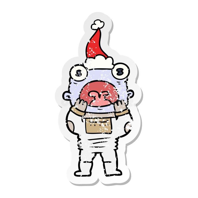 喘气在惊奇的外籍人的困厄的贴纸动画片戴圣诞老人帽子 向量例证