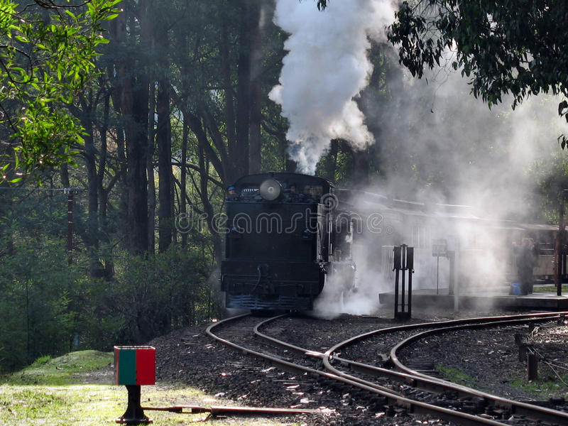 喘气的比利蒸汽火车,绿宝石 免版税库存图片
