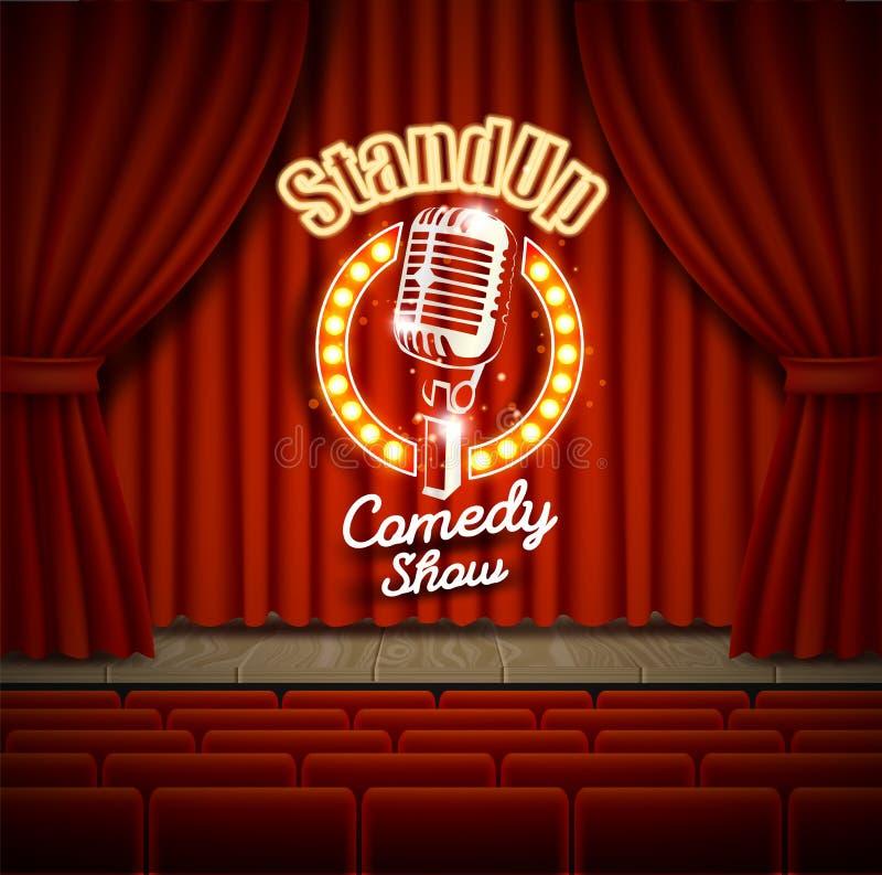 喜剧与红色帷幕的剧院场面导航现实例证 库存例证