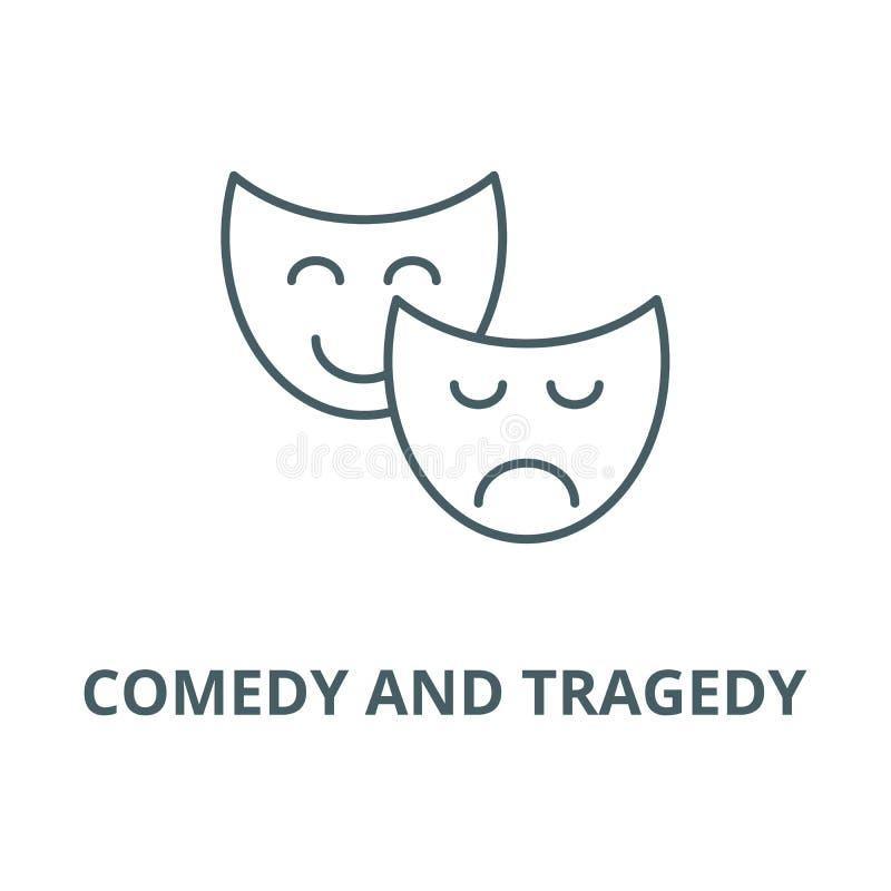喜剧和悲剧线象,传染媒介 喜剧和悲剧概述标志,概念标志,平的例证 向量例证